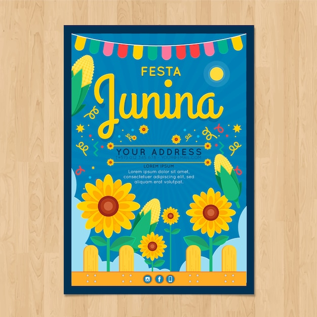 Приглашение по приглашению festa junina с подсолнухами Premium векторы