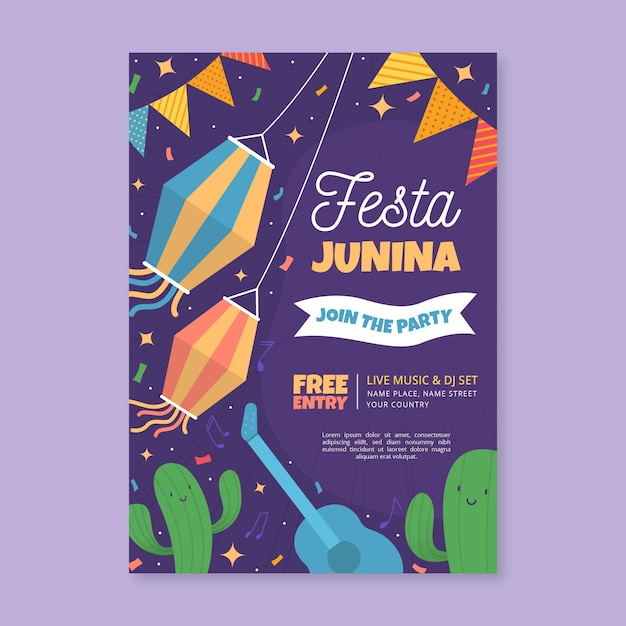 Festa junina poster template design Free Vector