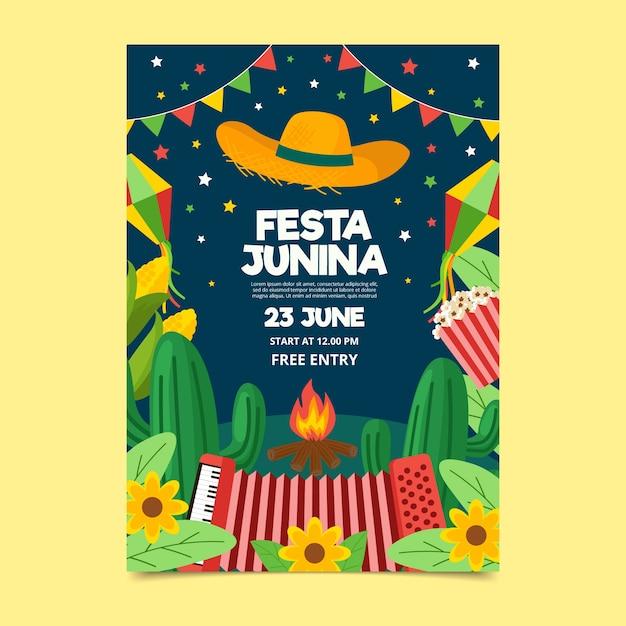 Шаблон плаката festa junina в плоском дизайне Бесплатные векторы