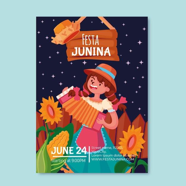 Festa junina poster template theme Free Vector