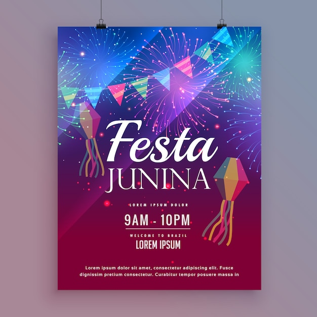 Festa junina poster template with fireworks Premium Vector
