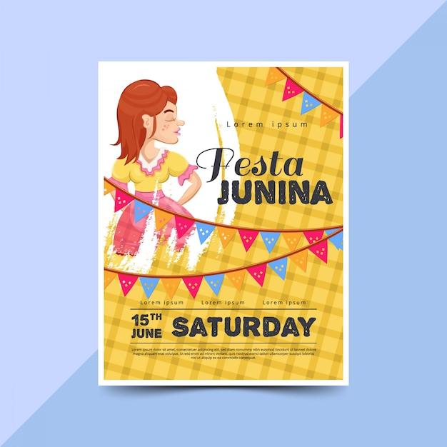 Festa junina poster template with happy women Premium Vector