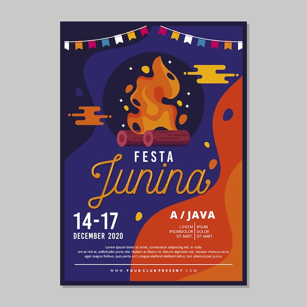 Festa junina poster template Free Vector
