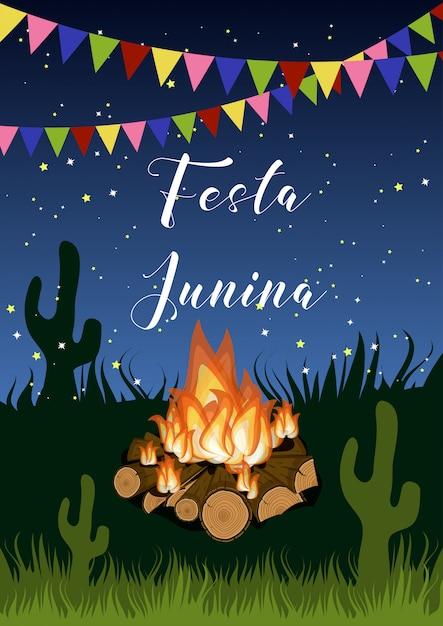 キャンプファイヤー、フラグガーランド、草、サボテンと星空の夜のテキストでフェスタジュニーナポスター。 Premiumベクター