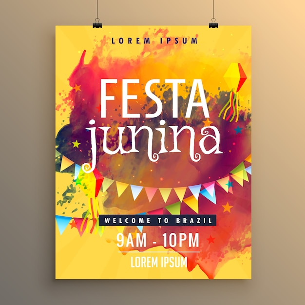 Festa junina poster with colorful paint stains Free Vector