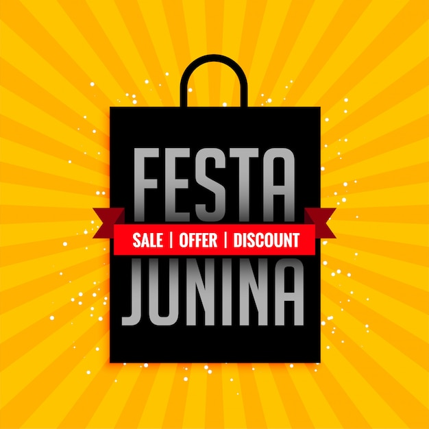 Festa junina sale banner with shopping bag Free Vector
