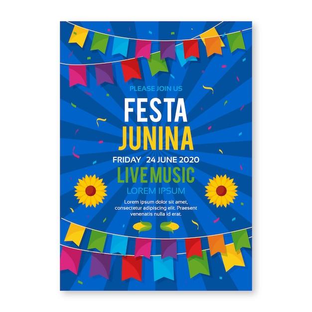 Шаблон festa junina для дизайна флаеров Бесплатные векторы