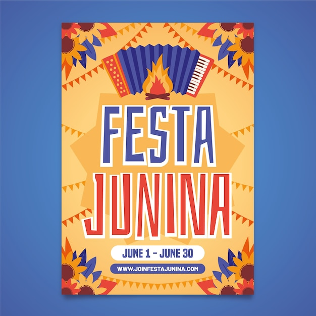 Шаблон festa junina для дизайна плаката Бесплатные векторы