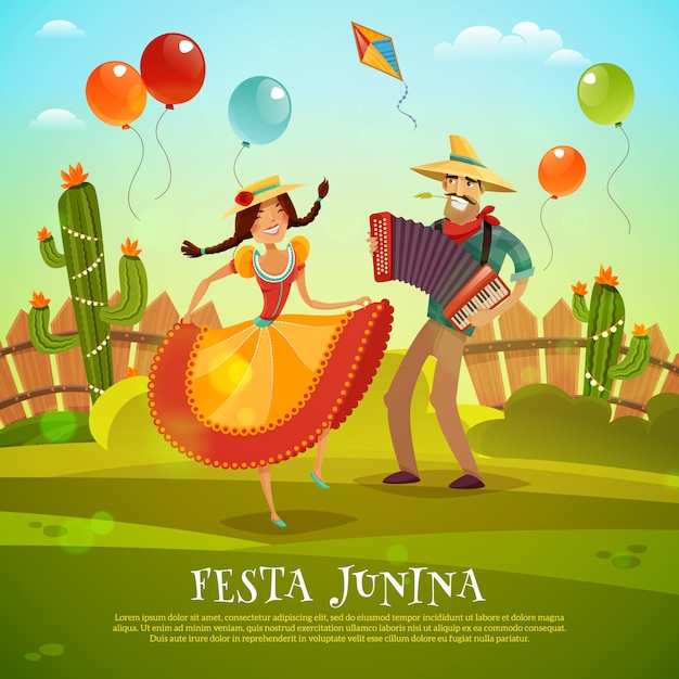 Festa junina template Free Vector