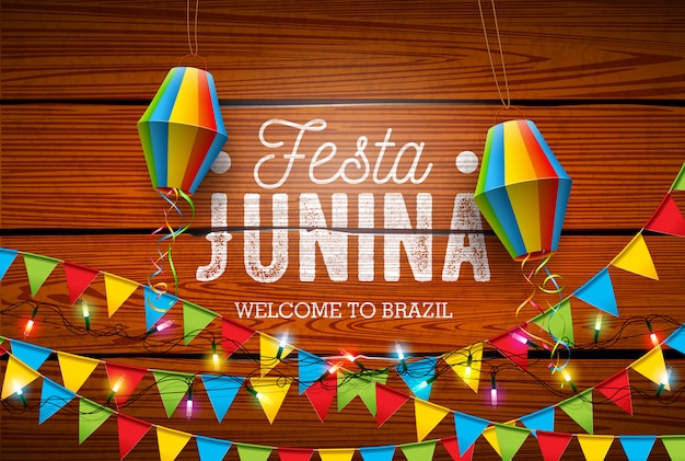 Festa junina traditional brazil june festival design Premium Vector