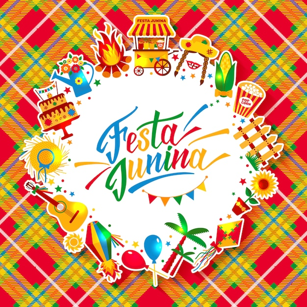 Festa junina village festival in latin america. icons set in bright color. festival style decoration. Premium Vector