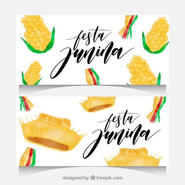 Festa junina watercolor banners with corn cobs Free Vector