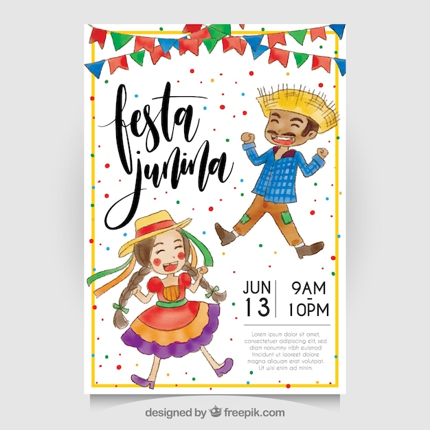 Festa junina watercolor invitation with nice characters Free Vector