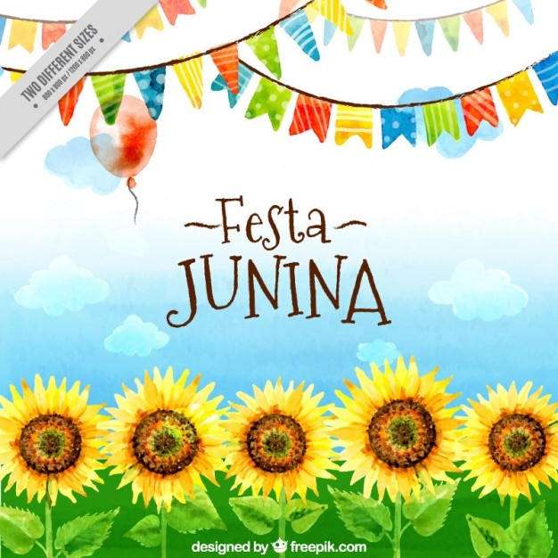 Festa junina watercolor sunflowers and garlands\ background