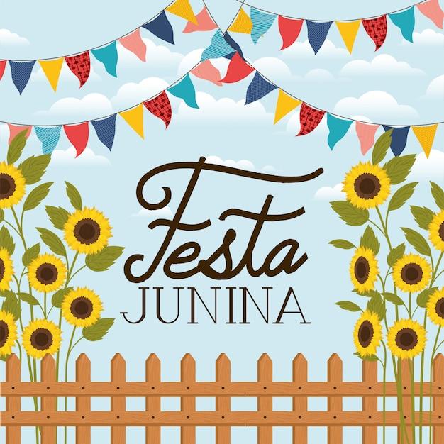 Festa junina with fence and sunflowers garden Premium Vector