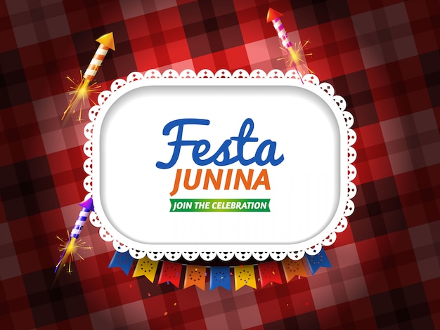 Festa junina with pennants and fireworks Free Vector