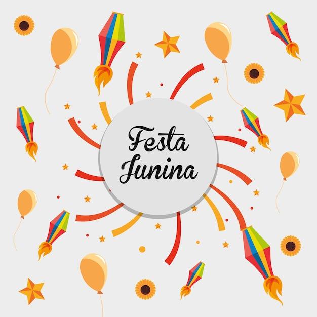 Festa junina со смежными значками вокруг на белом фоне Premium векторы