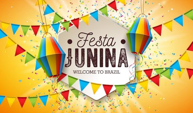 Иллюстрация festa junina с флагами партии и бумажным фонарем Premium векторы