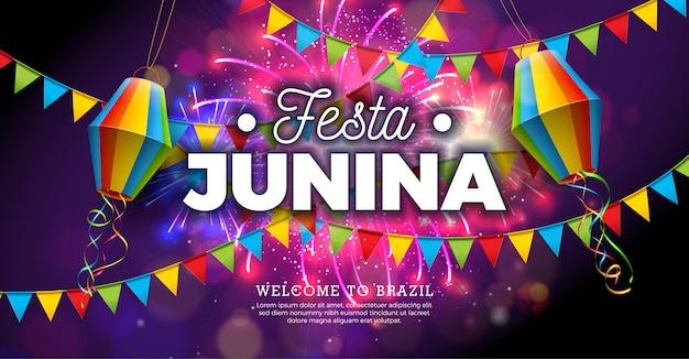 Иллюстрация festa junina с флагами и бумажным фонарем Premium векторы