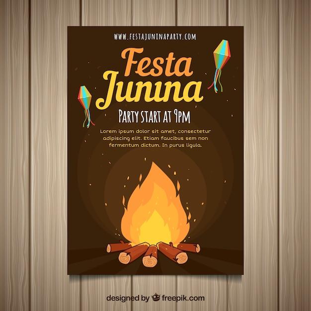 Праздничный пригласительный билет festa junina с костром ночью Бесплатные векторы