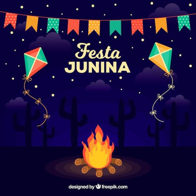 Festa junina фон с костром ночью Бесплатные векторы