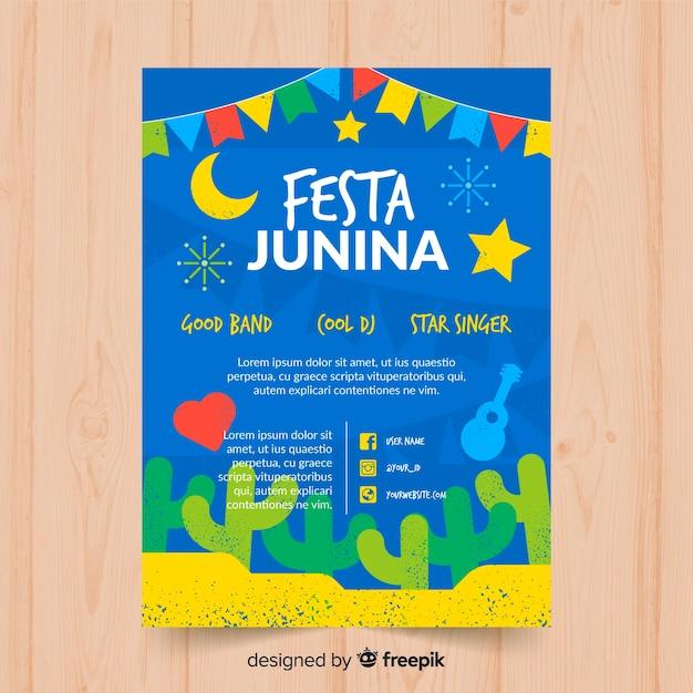 Festa junina флаер шаблон Бесплатные векторы