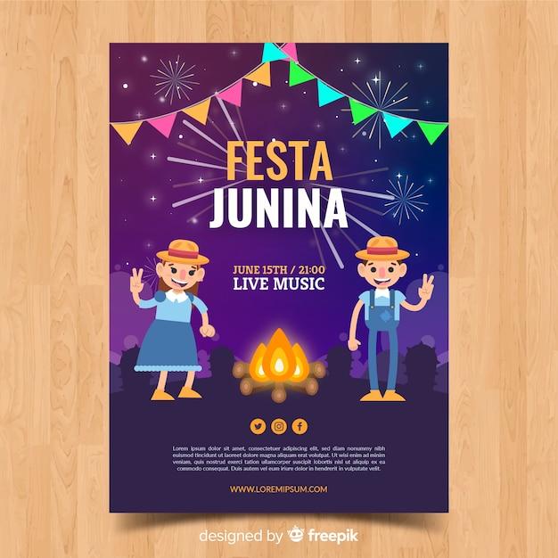 Постер festa junina Бесплатные векторы