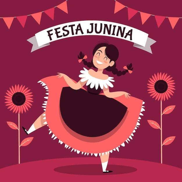 Нарисованная от руки тема festa junina Бесплатные векторы