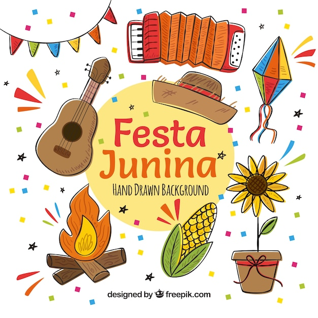 Festa party background with typical hand drawn elements Free Vector