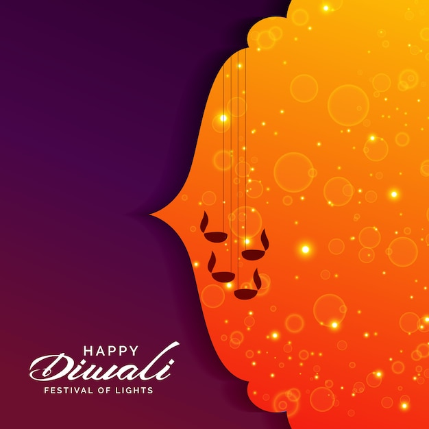 Festival greeting for diwali with hanging diya lamps Free Vector