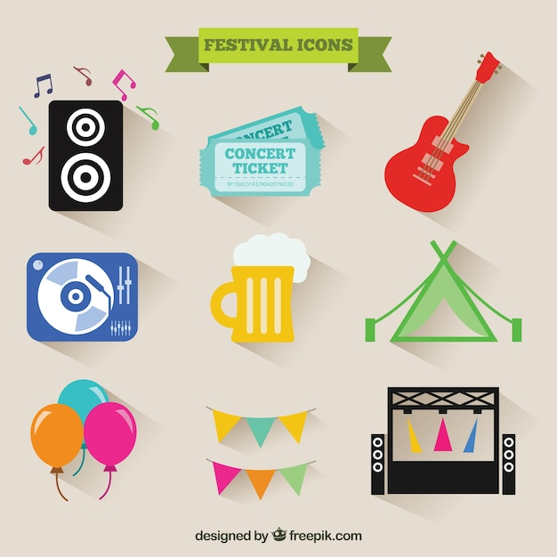 Festival icons Free Vector