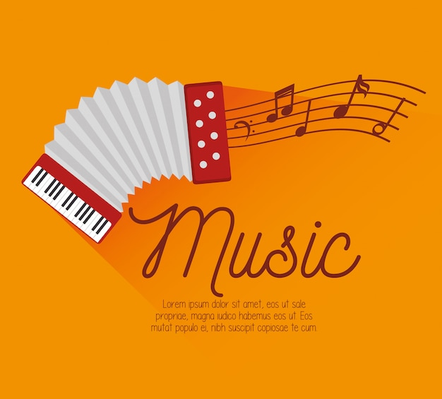 Festival music accordion notes icon Free Vector