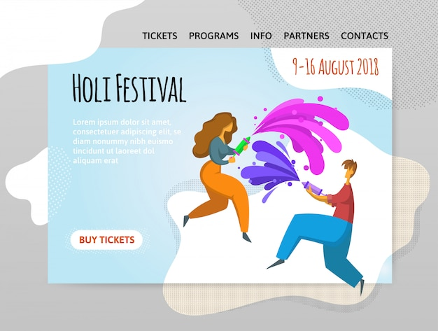 Фестиваль красок холи. счастливый мальчик и девочка бросают краску. иллюстрирование, шаблон сайта, шапка, баннер или плакат. Premium векторы