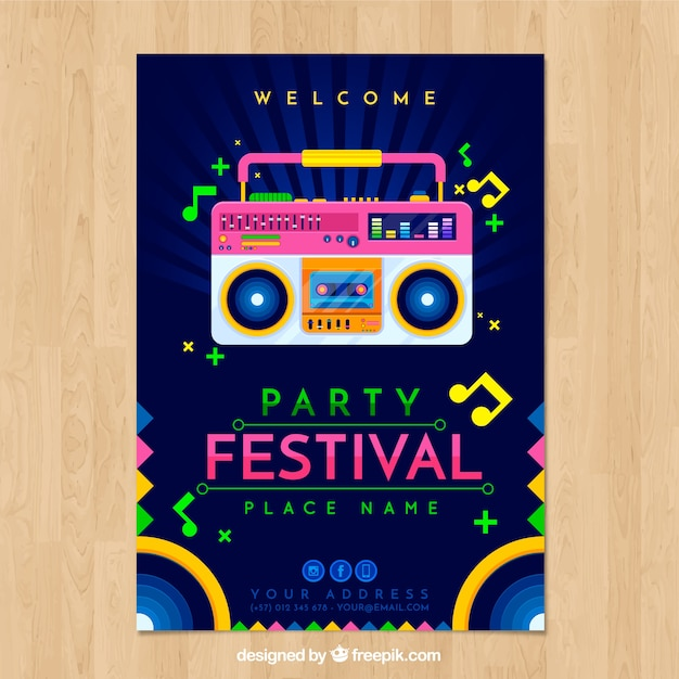 Festival poster template with radio cassette player Free Vector