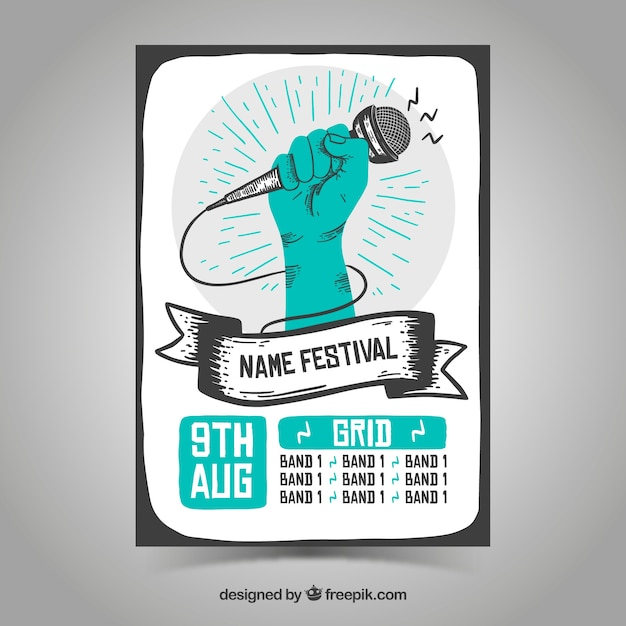 Festival poster templatewith hand drawn style Free Vector