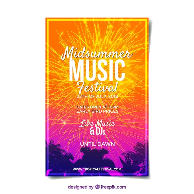 Festival poster with fireworks Free Vector
