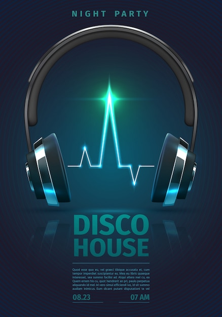 Festival poster with music headphones. dj mixing electro party Premium Vector