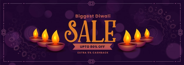 Festival sale banner of happy diwali Free Vector