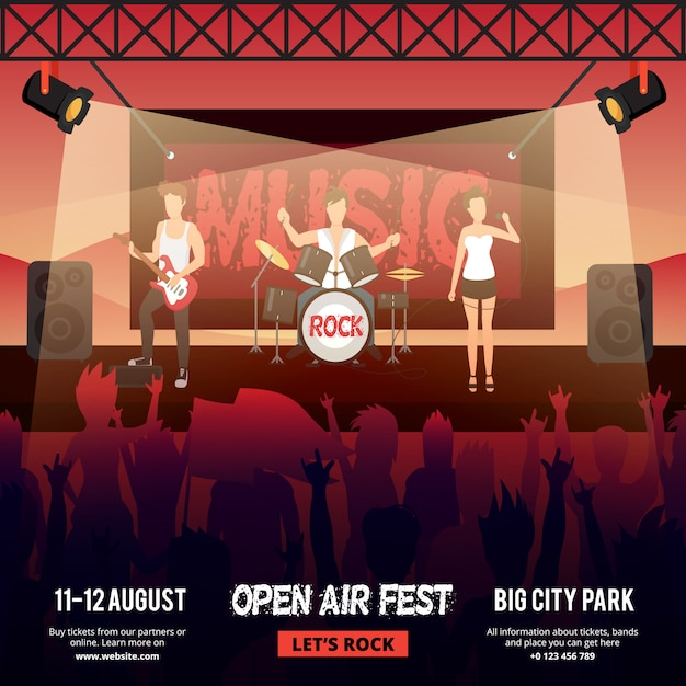 Festival square banner with female-fronted rock music band performing on stage in front of audience Free Vector