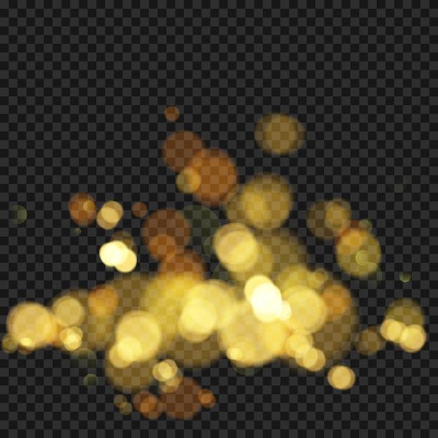 焦点がぼけたライトでお祝いの背景。ボケの効果。あなたのデザインのためのクリスマスの輝く暖かい金色のキラキラ要素。図 Premiumベクター