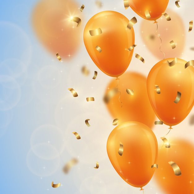 Festive background with gold balloons and confetti. Premium Vector