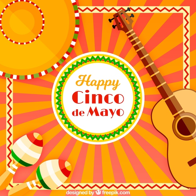 Festive Background With Traditional Cinco De Mayo Elements ...