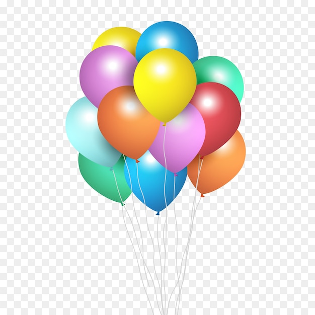Festive balloons, group of colour helium balloons isolated on transparent Premium Vector