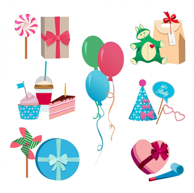 Festive or birthday party different vector elements set. balloons, hats flags and colored masks. Premium Vector