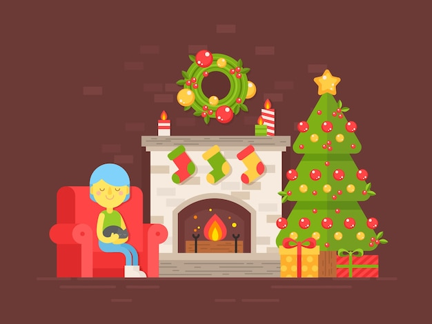 Festive card with christmas tree, fireplace and character Premium Vector