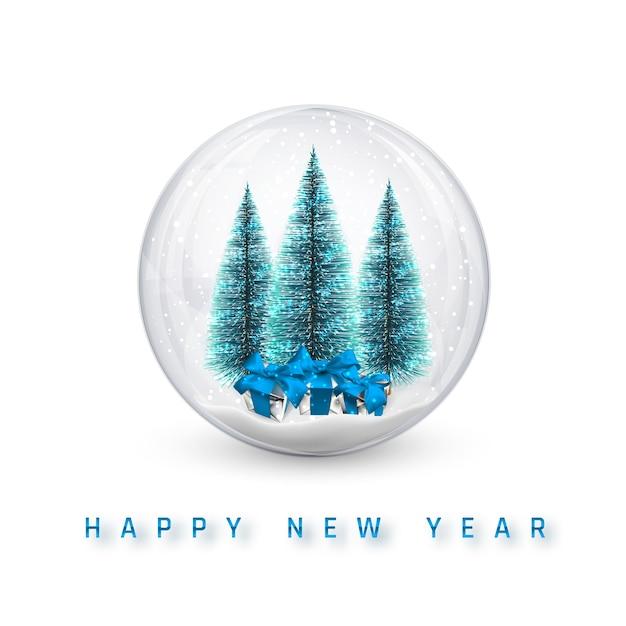 お祝いのクリスマスの背景。クリスマスの松の木と輝くキラキラ光るクリスマスボール。 Premiumベクター