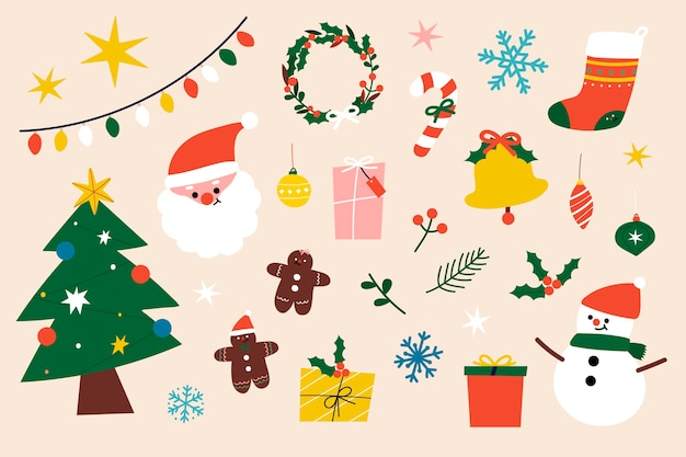 Festive christmas clipart elements collection Free Vector