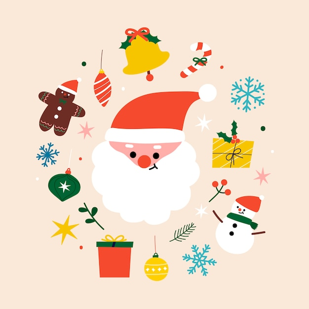 Festive christmas composition with santa character Free Vector