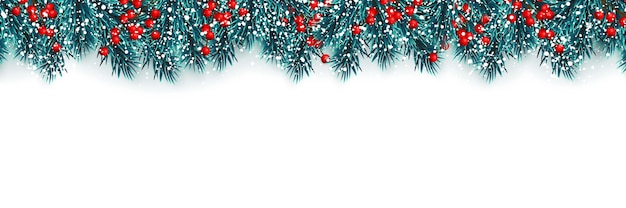 Festive christmas or new year background. christmas tree branches with holly berries and xmas snow. holiday's background. Premium Vector