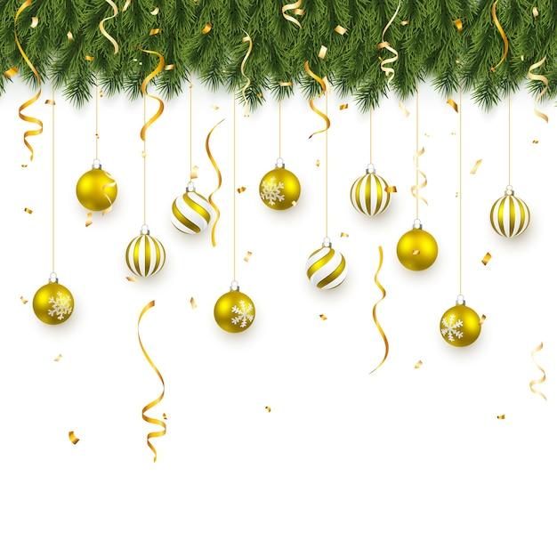 お祝いのクリスマスや新年の背景。紙吹雪とクリスマスの金のボールとクリスマスのモミの木の枝。休日の背景。 Premiumベクター